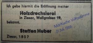 Jubiläum Drechslerei Huber Anzeige