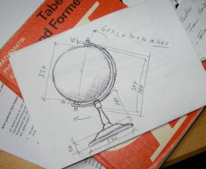 Globus-Gestell als Zeichnung