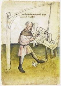 Drechsler, Darstellung (um 1425) zum Beitrag Drechseln und Drehen